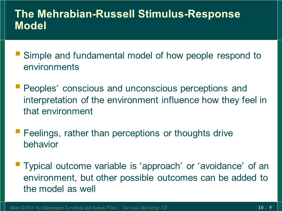 The Mehrabian-Russell Stimulus-Response Model