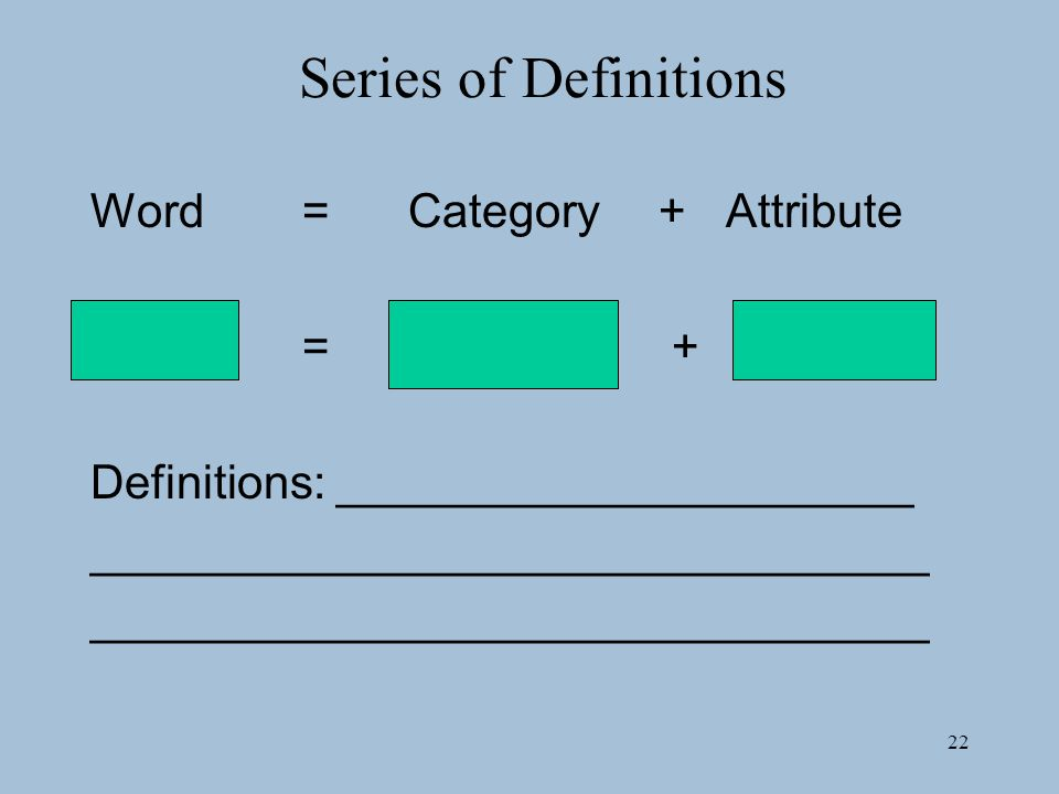 Series of Definitions Word = Category + Attribute = +