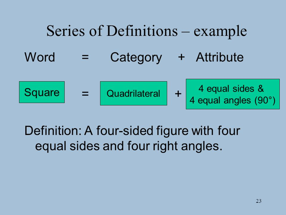 Series of Definitions – example