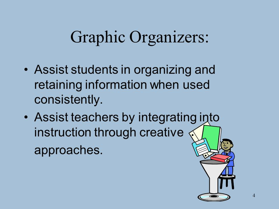 Graphic Organizers: Assist students in organizing and retaining information when used consistently.