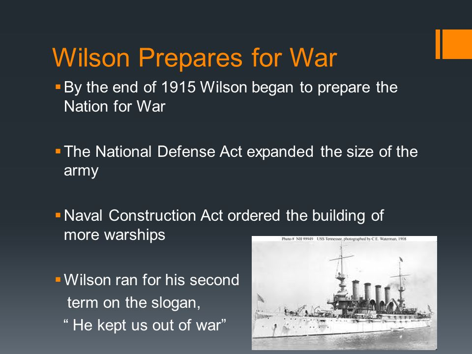 Wilson Prepares for War