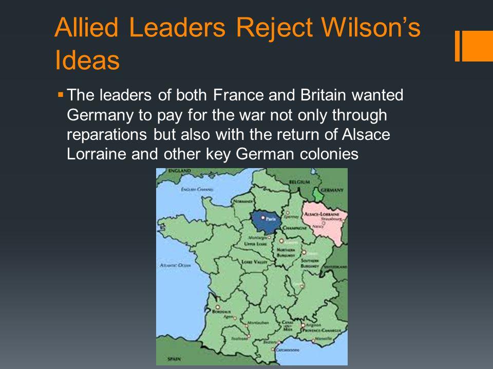 Allied Leaders Reject Wilson's Ideas