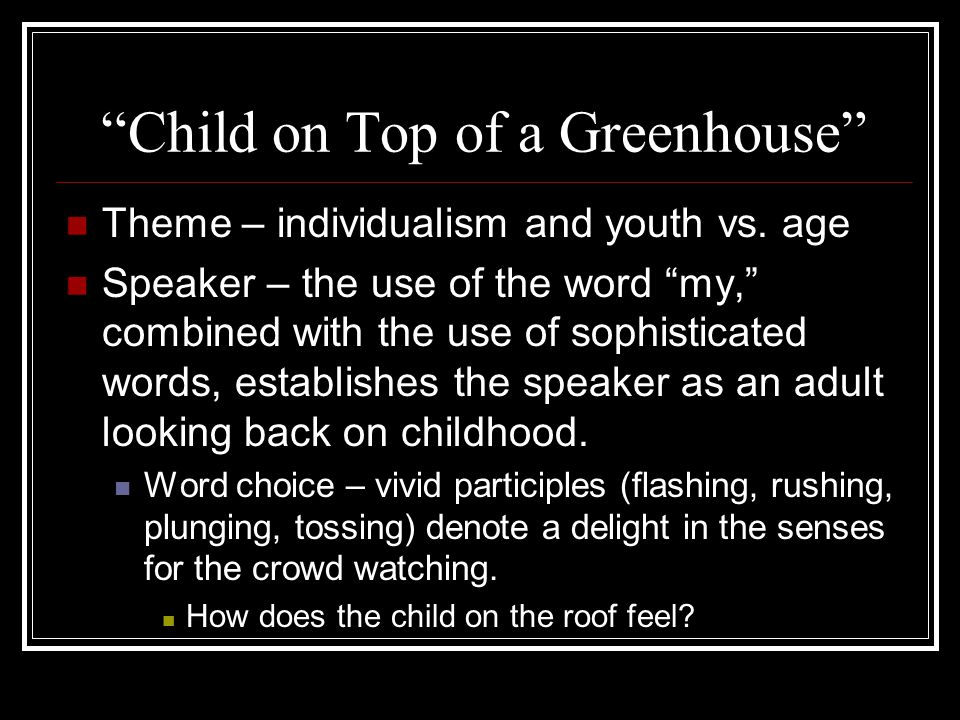 Child on Top of a Greenhouse