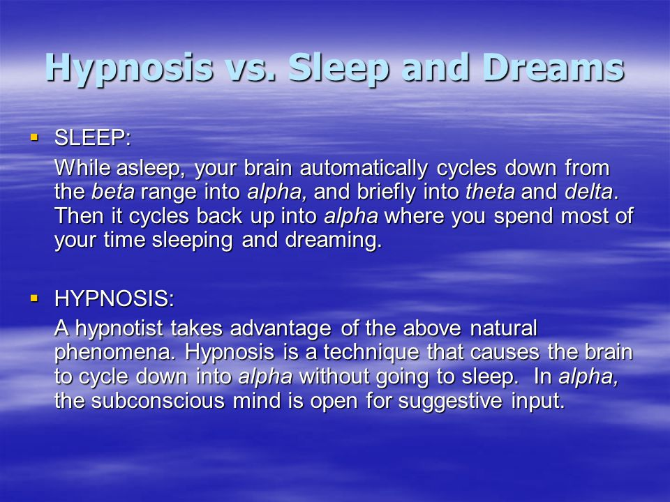 Hypnosis vs. Sleep and Dreams
