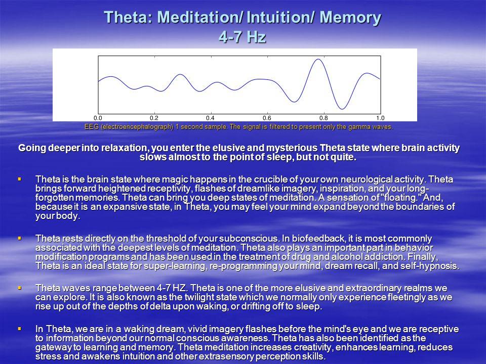 Theta: Meditation/ Intuition/ Memory 4-7 Hz