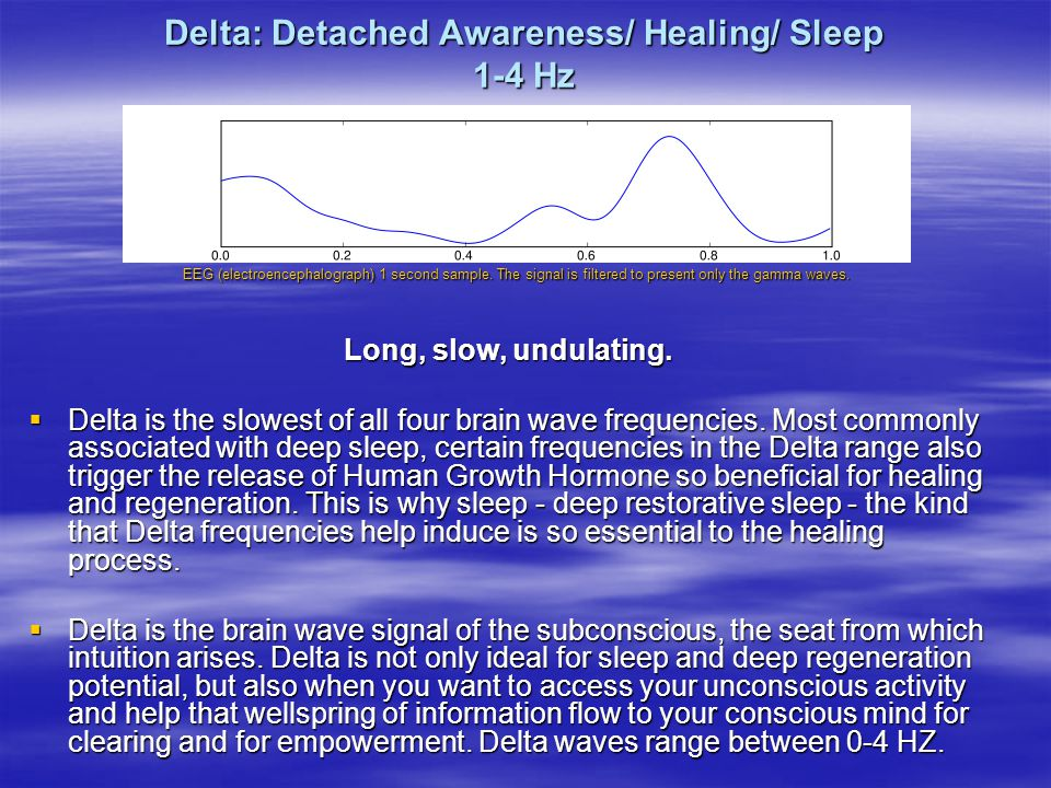 Delta: Detached Awareness/ Healing/ Sleep 1-4 Hz
