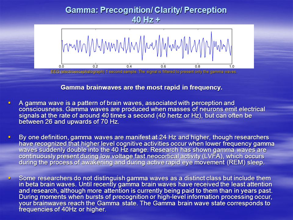 Gamma: Precognition/ Clarity/ Perception 40 Hz +