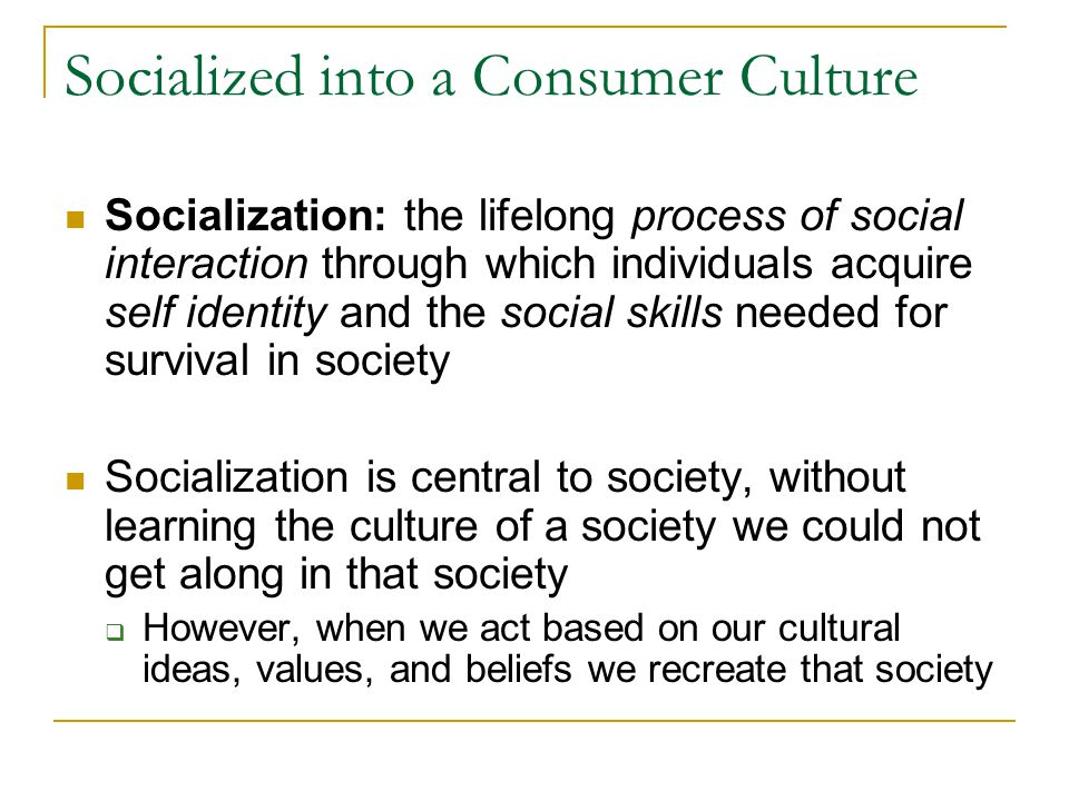 Socialized into a Consumer Culture