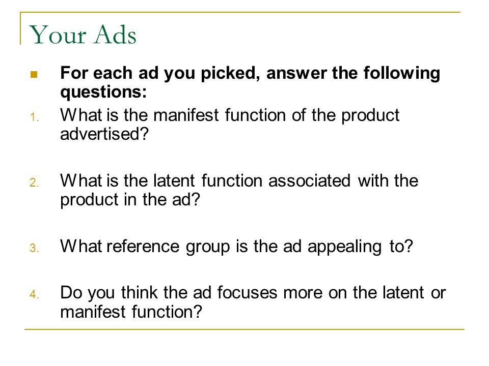 Your Ads For each ad you picked, answer the following questions: