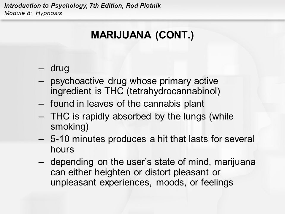 MARIJUANA (CONT.) drug. psychoactive drug whose primary active ingredient is THC (tetrahydrocannabinol)