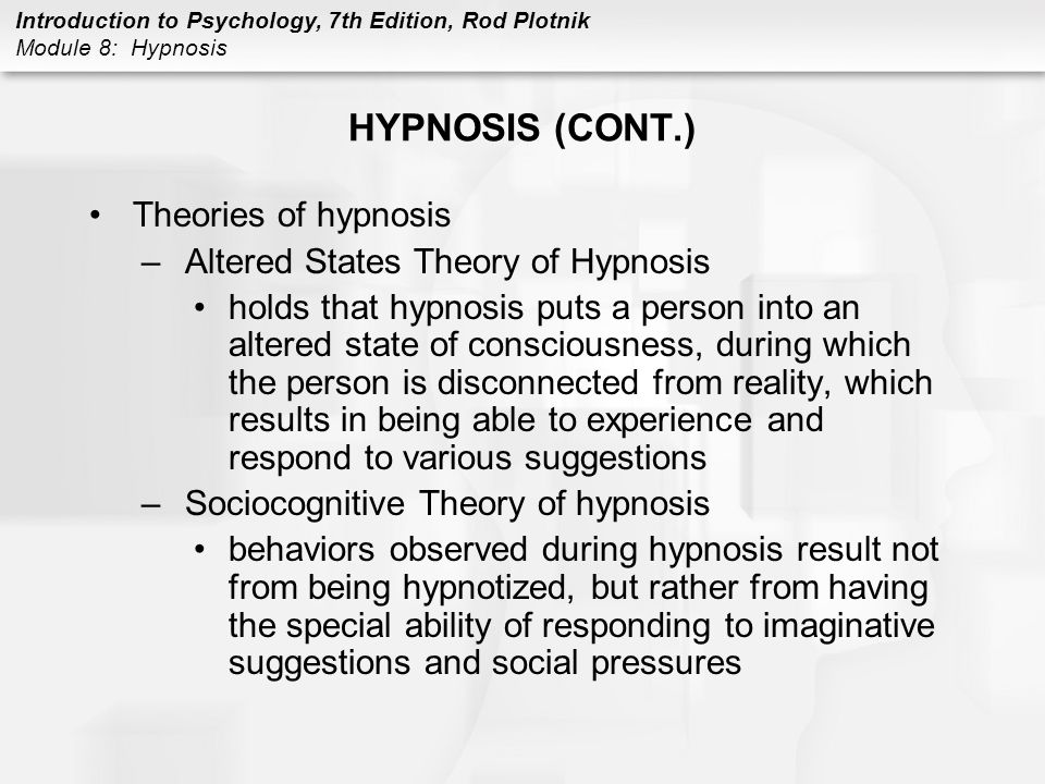 theories of hypnosis Hypnosis is one of psychology's most of charcot's notion that mental dissociation is the true basis of hypnosis this is the neodissociation theory.