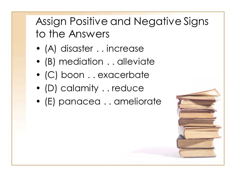 Assign Positive and Negative Signs to the Answers
