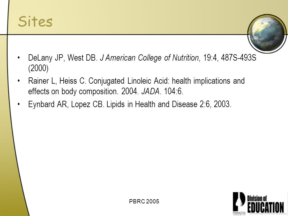 Sites DeLany JP, West DB. J American College of Nutrition, 19:4, 487S-493S (2000)