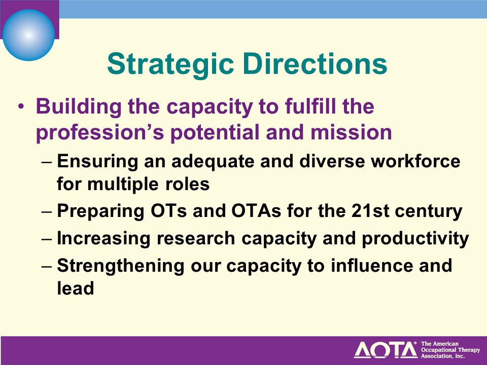 Strategic Directions Building the capacity to fulfill the profession's potential and mission.