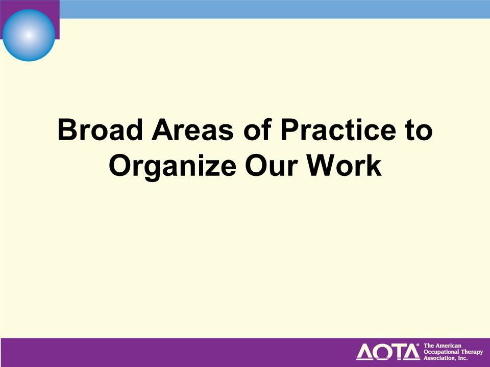 Broad Areas of Practice to Organize Our Work