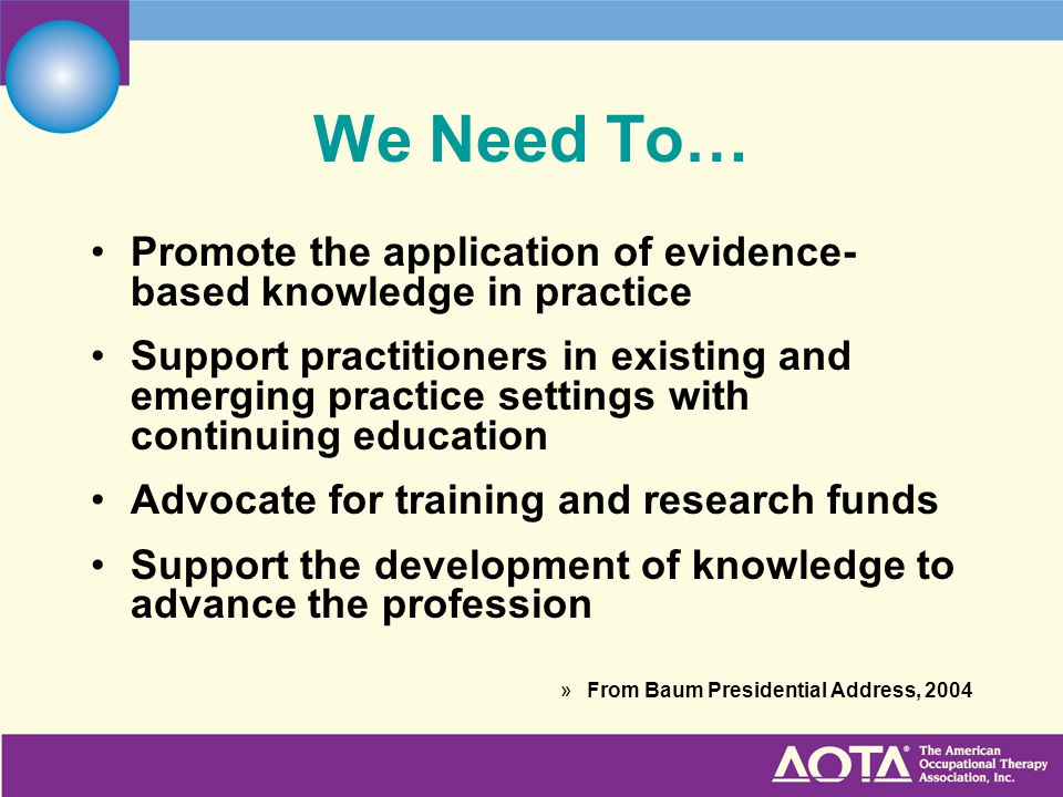 We Need To… Promote the application of evidence-based knowledge in practice.