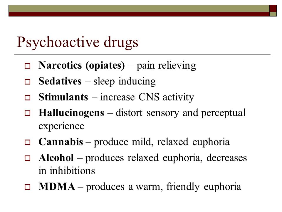 Psychoactive drugs Narcotics (opiates) – pain relieving
