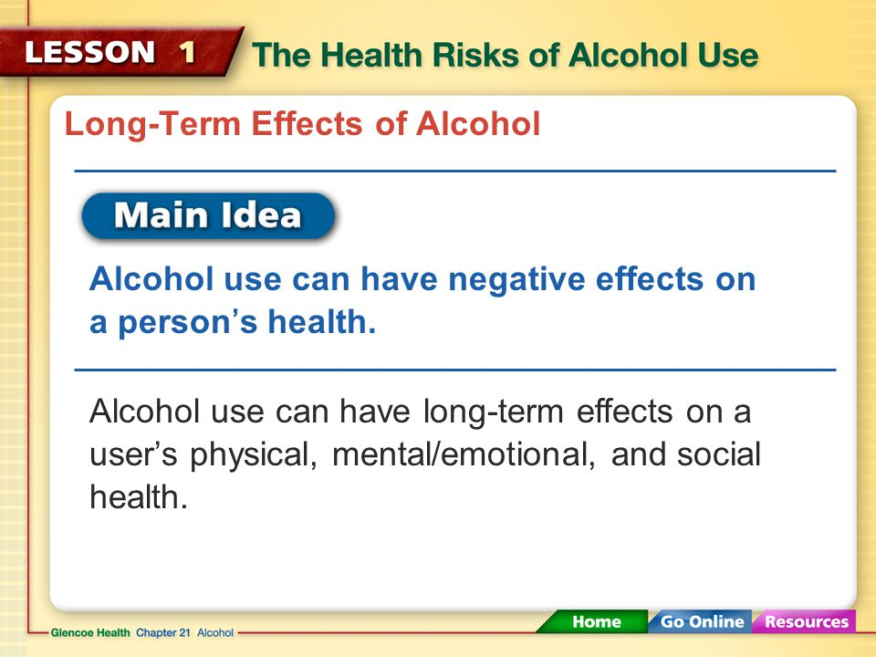 Psychological and physical effects of alcohol