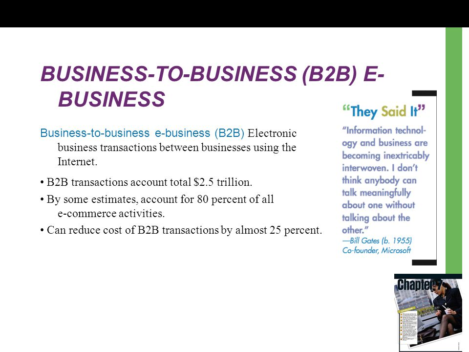 BUSINESS-TO-BUSINESS (B2B) E- BUSINESS