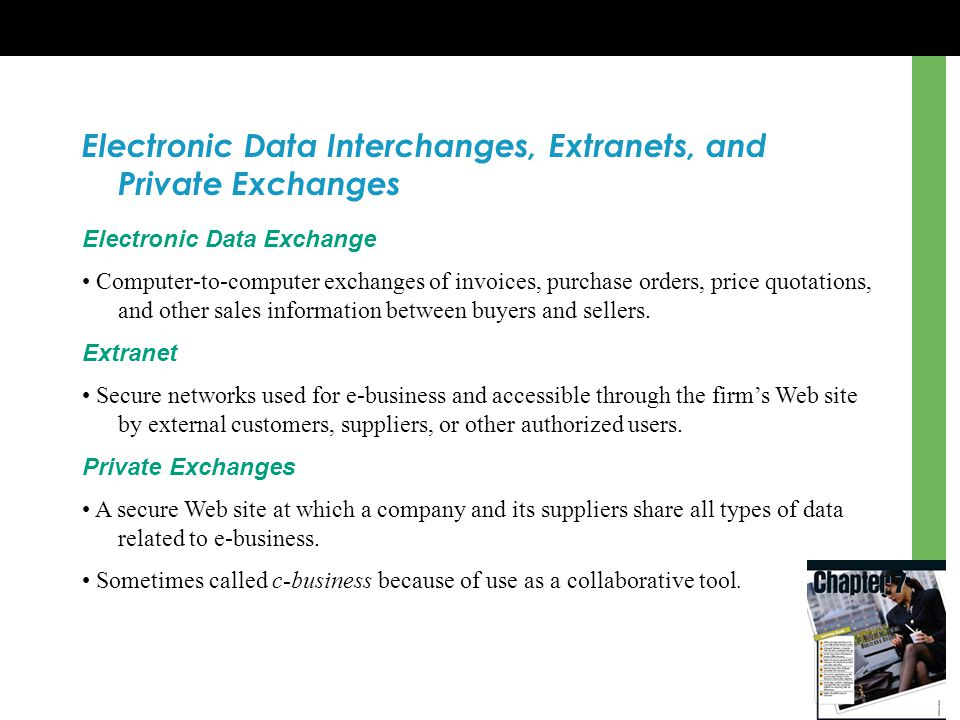 Electronic Data Interchanges, Extranets, and Private Exchanges