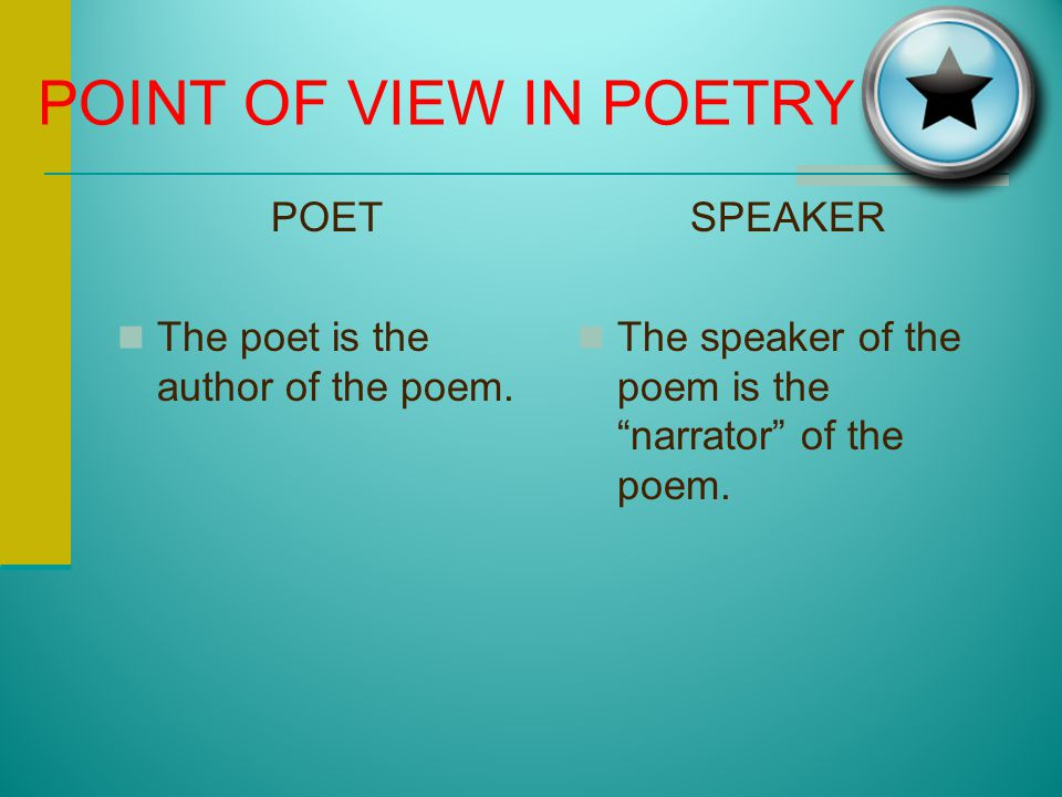 POINT OF VIEW IN POETRY POET The poet is the author of the poem.