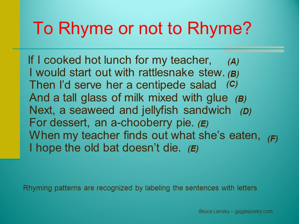 To Rhyme or not to Rhyme