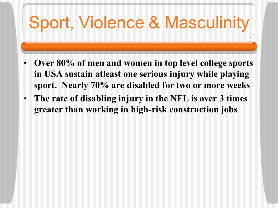 sport in the construction of masculinity Despite the prolific advancement of women sports and female athletes and the  potential for  this inequality within sport will continue to exist until the media re- examines it  a hallthe discourse of gender and sport: from femininity to  feminism  n thebergethe construction of gender in sport: women, coaching,  and the.