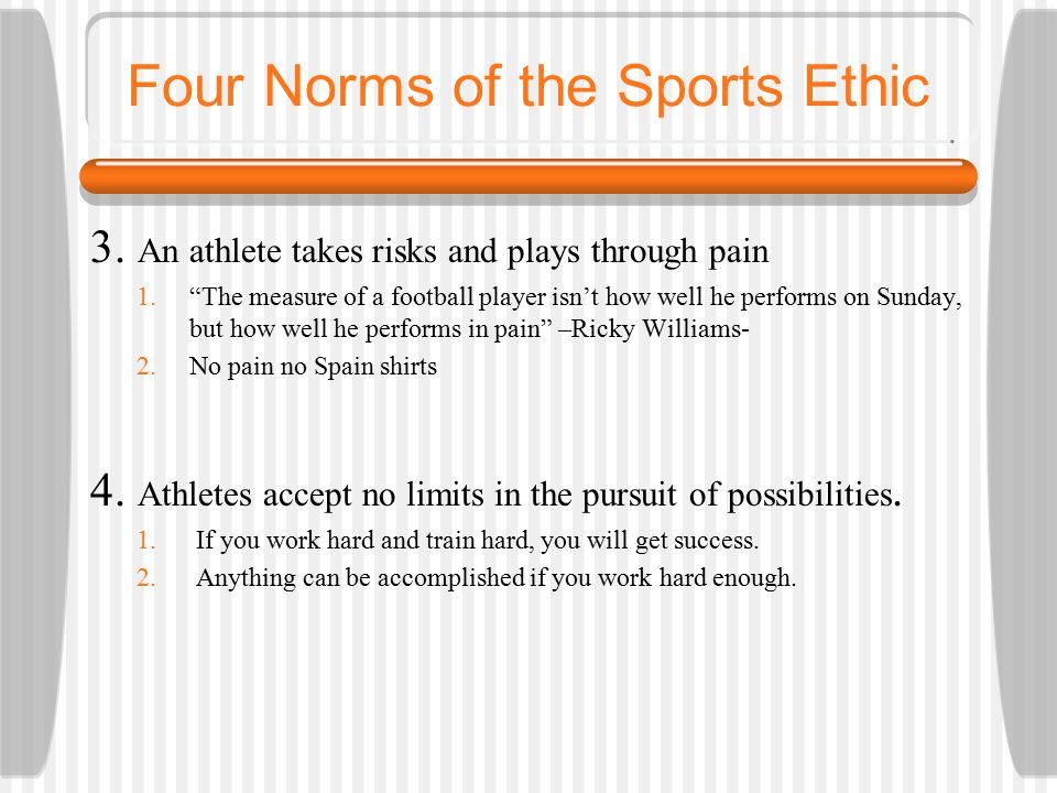 Four Norms of the Sports Ethic