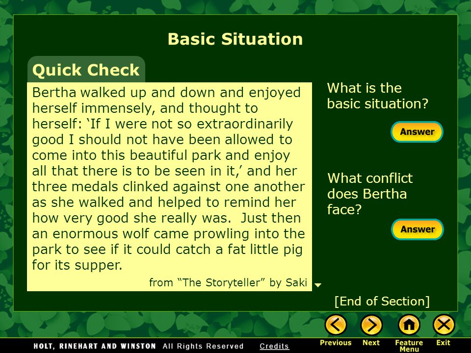 Basic Situation Quick Check What is the basic situation