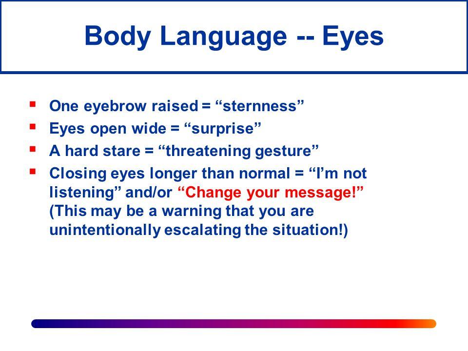 Body Language -- Eyes One eyebrow raised = sternness