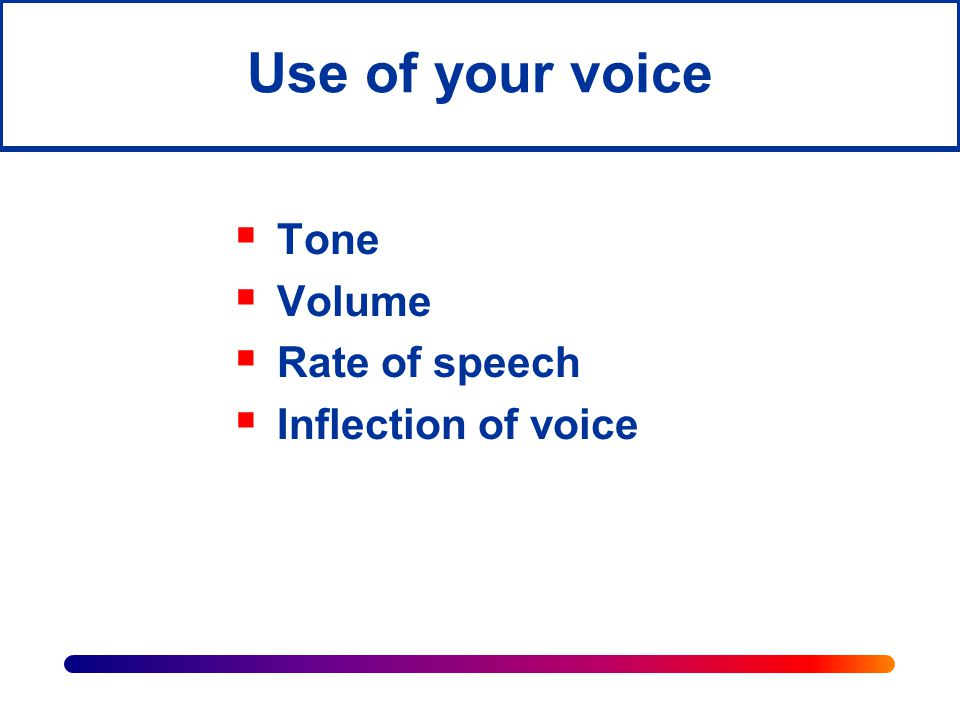 Use of your voice Tone Volume Rate of speech Inflection of voice
