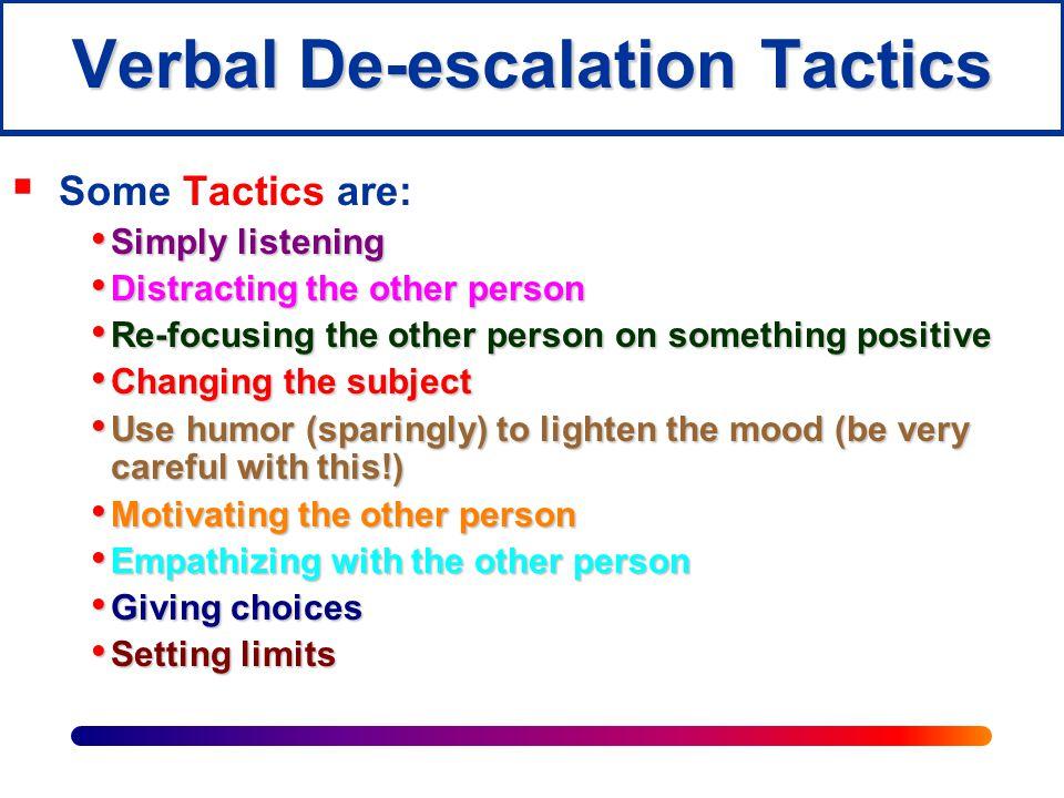 Verbal De-escalation Tactics