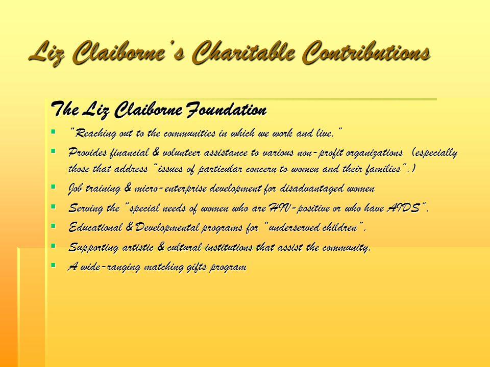 Liz Claiborne's Charitable Contributions