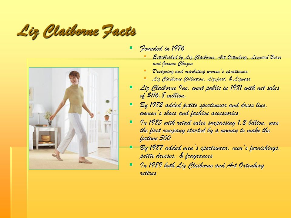 Liz Claiborne Facts Founded in 1976