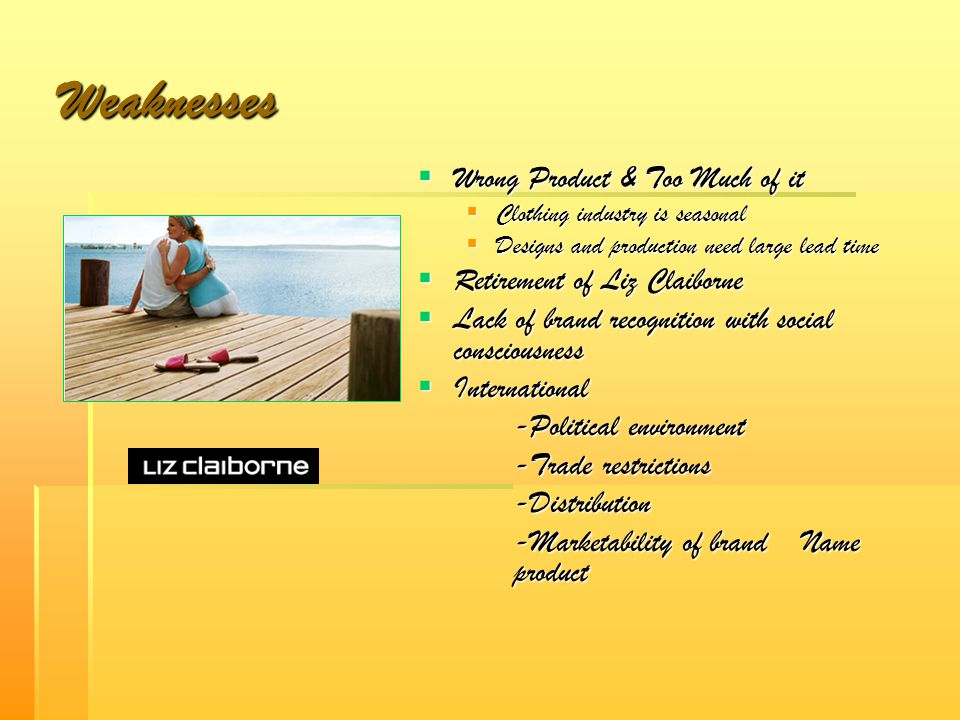 Weaknesses Wrong Product & Too Much of it Retirement of Liz Claiborne