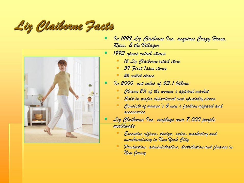 Liz Claiborne Facts In 1992 Liz Claiborne Inc. acquires Crazy Horse, Russ, & the Villager. 1993 opens retail stores.
