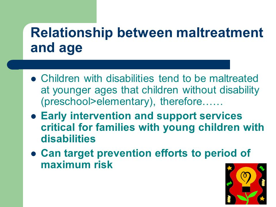 Relationship between maltreatment and age