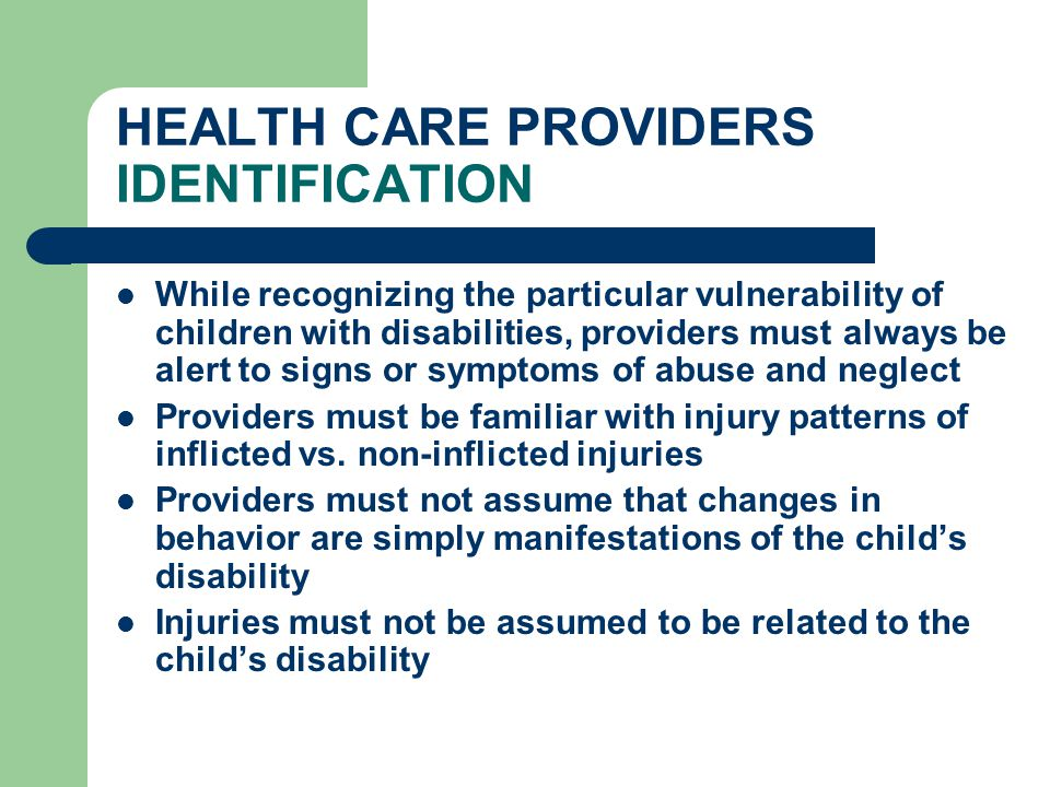 HEALTH CARE PROVIDERS IDENTIFICATION