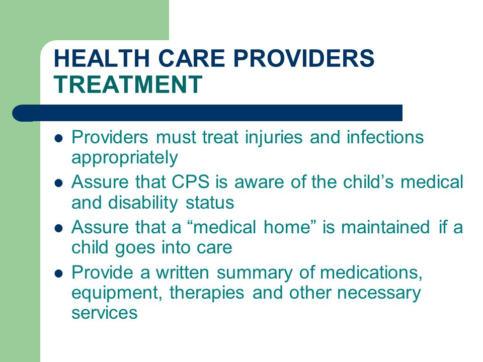 HEALTH CARE PROVIDERS TREATMENT