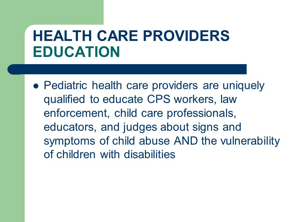 HEALTH CARE PROVIDERS EDUCATION
