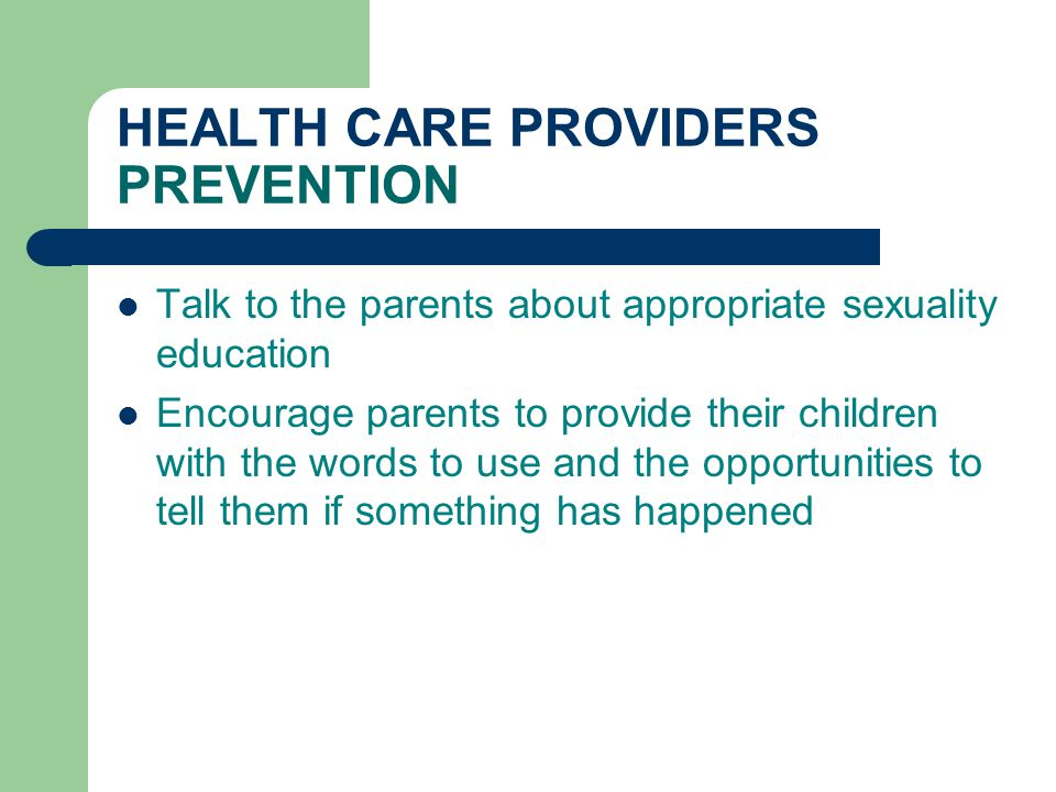 HEALTH CARE PROVIDERS PREVENTION