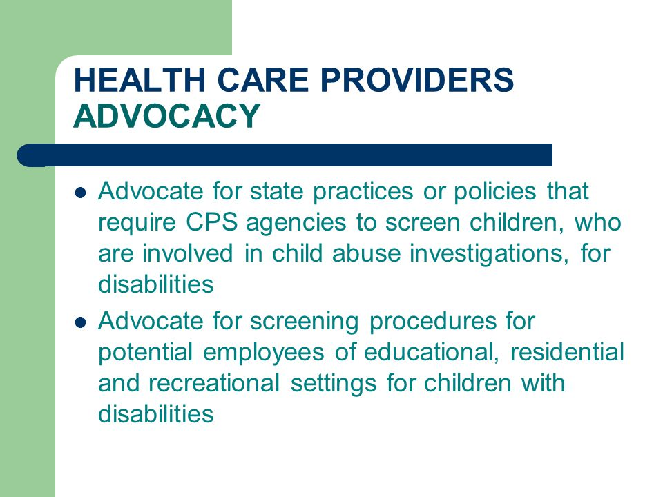 HEALTH CARE PROVIDERS ADVOCACY