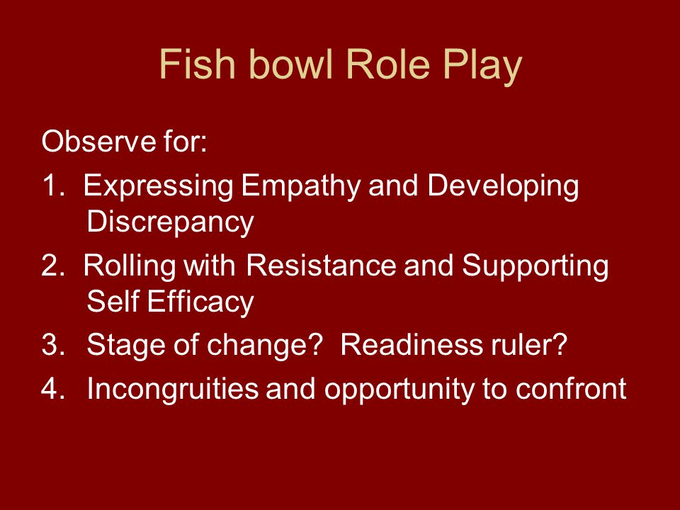 Fish bowl Role Play Observe for: