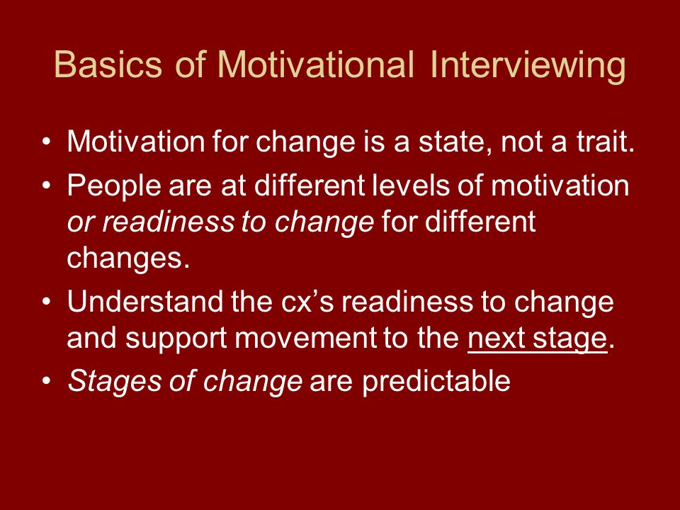 Basics of Motivational Interviewing