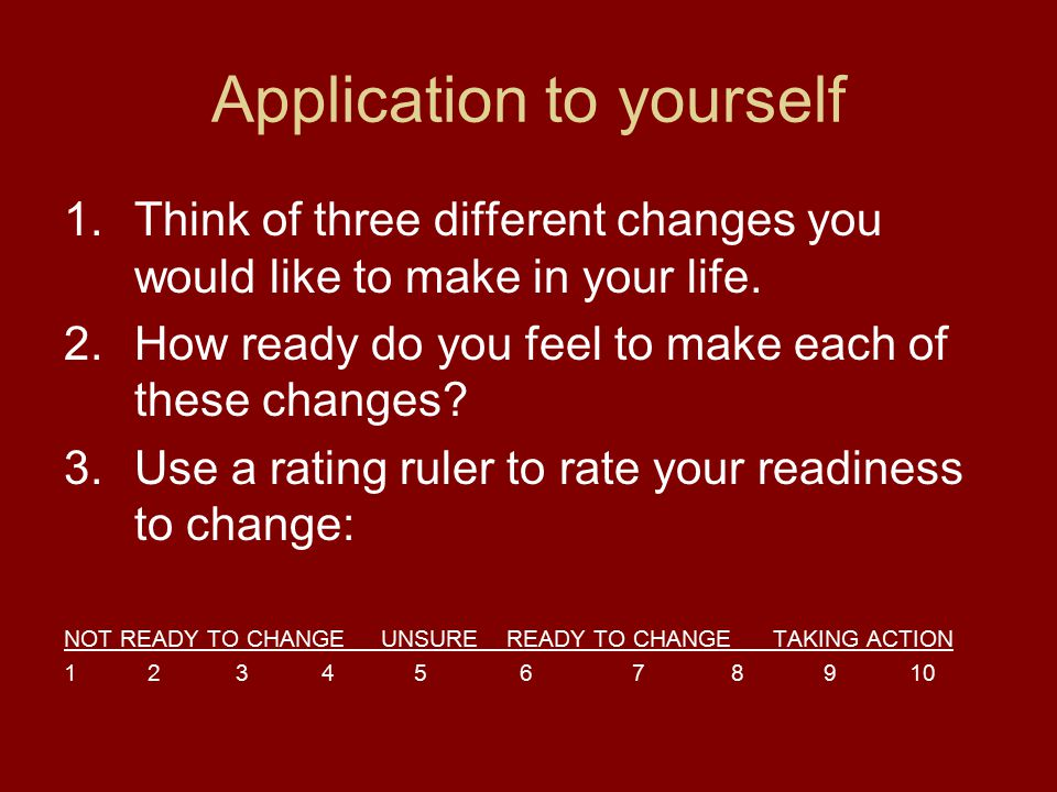 Application to yourself