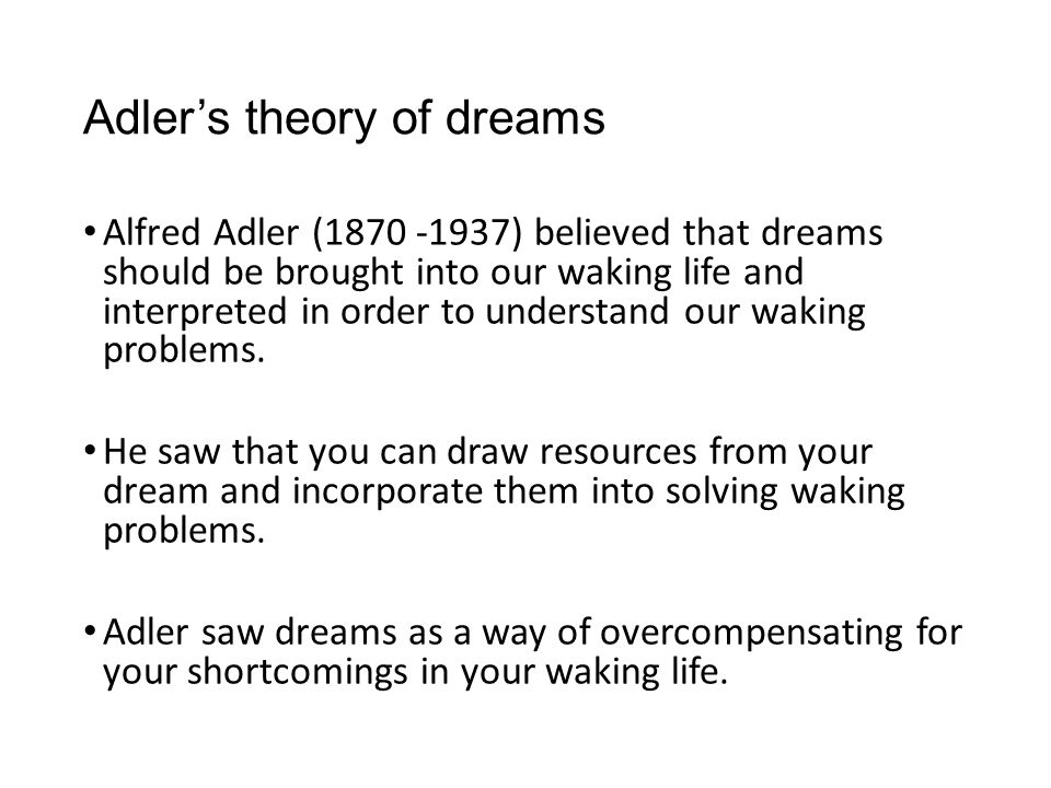 Adler's theory of dreams