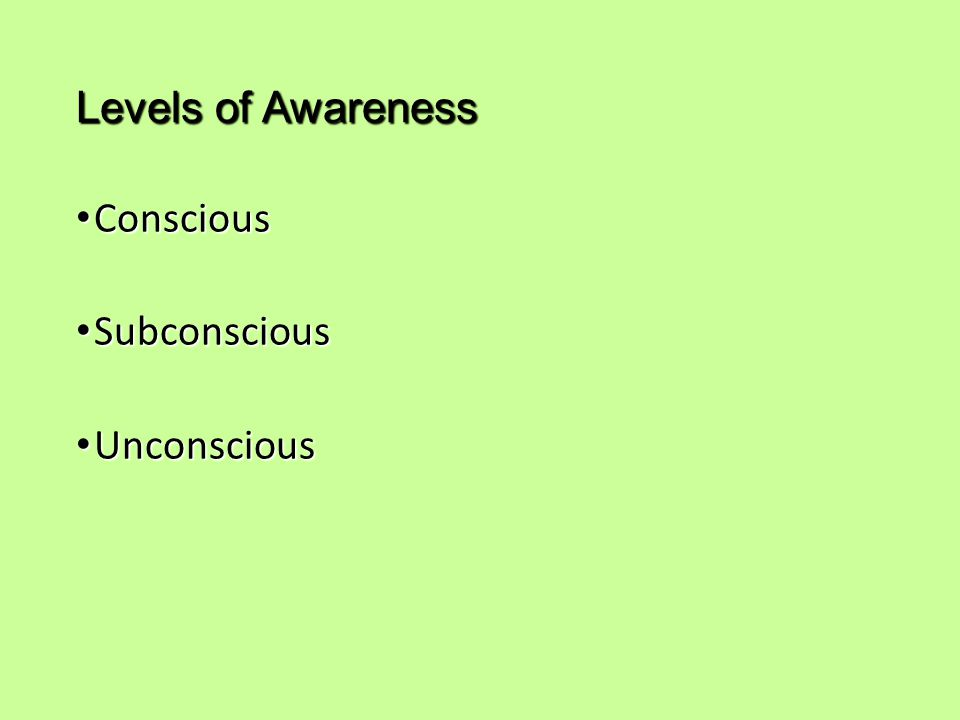 Levels of Awareness Conscious Subconscious Unconscious