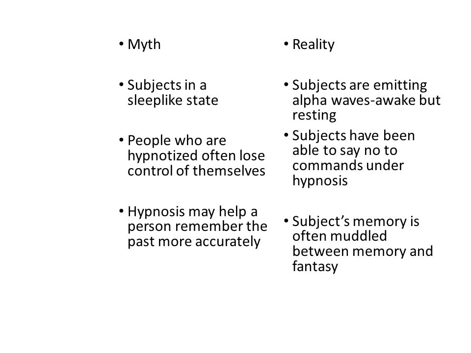 Myth Subjects in a sleeplike state. People who are hypnotized often lose control of themselves.
