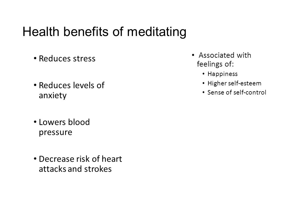 Health benefits of meditating