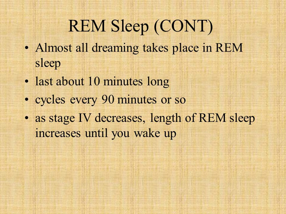 REM Sleep (CONT) Almost all dreaming takes place in REM sleep